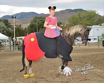 NNGHC 2012 - An image of a woman dressed as Minnie Mouse riding a horse dressed like Mickey Mouse.